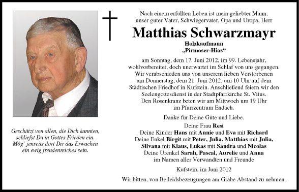 Traueranzeige von mattthias schwarzenmayr vom for Holzkaufmann