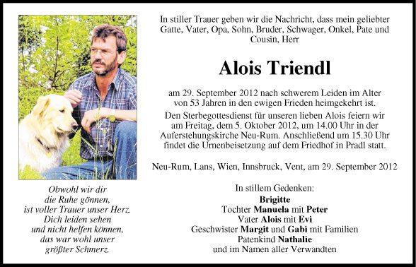 Trauersprüche Vater | Traueranzeige Von Alois Triendl Vom 03 10 2012