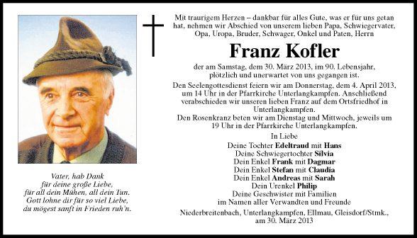 Traueranzeige von franz kofler vom for Franz kofler