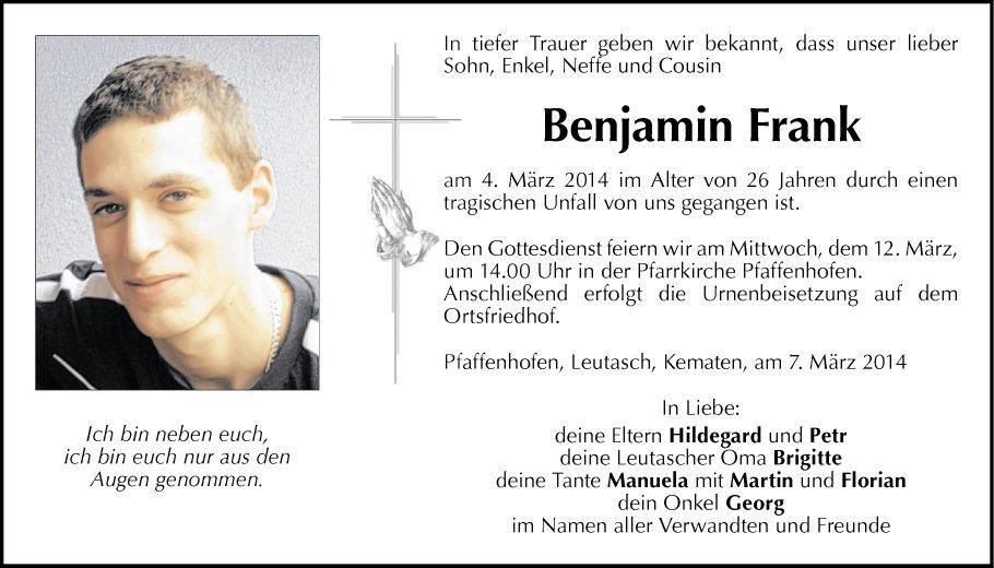traueranzeige von benjamin frank vom 08.03.2014