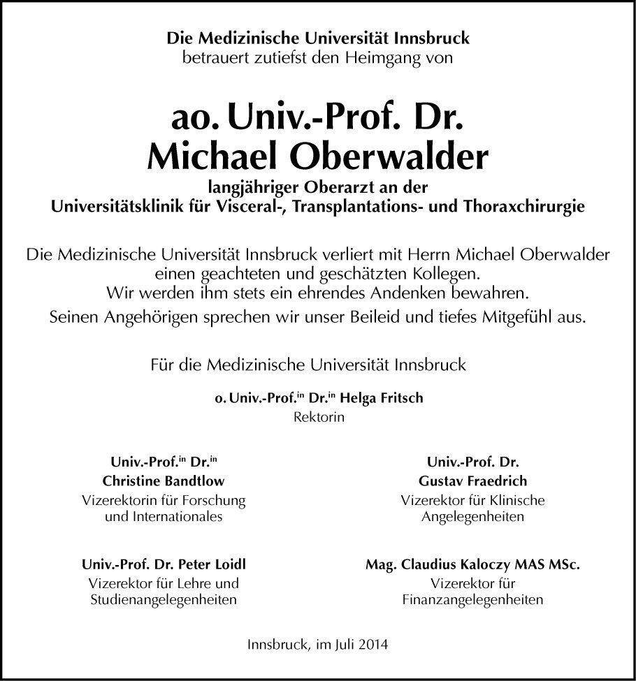 traueranzeige von michael oberwalder vom 26.07.2014