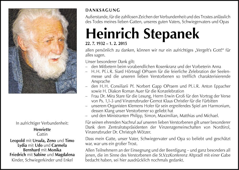 Traueranzeige von Heinrich Stepanek vom 14.02.2015