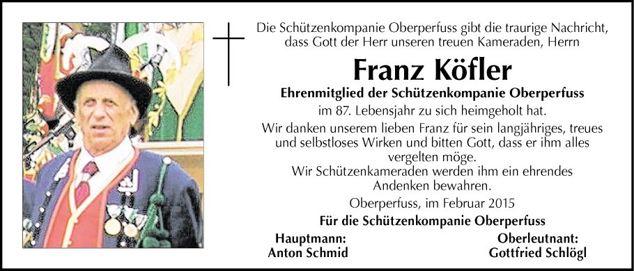 Traueranzeige von franz k fler vom for Franz kofler