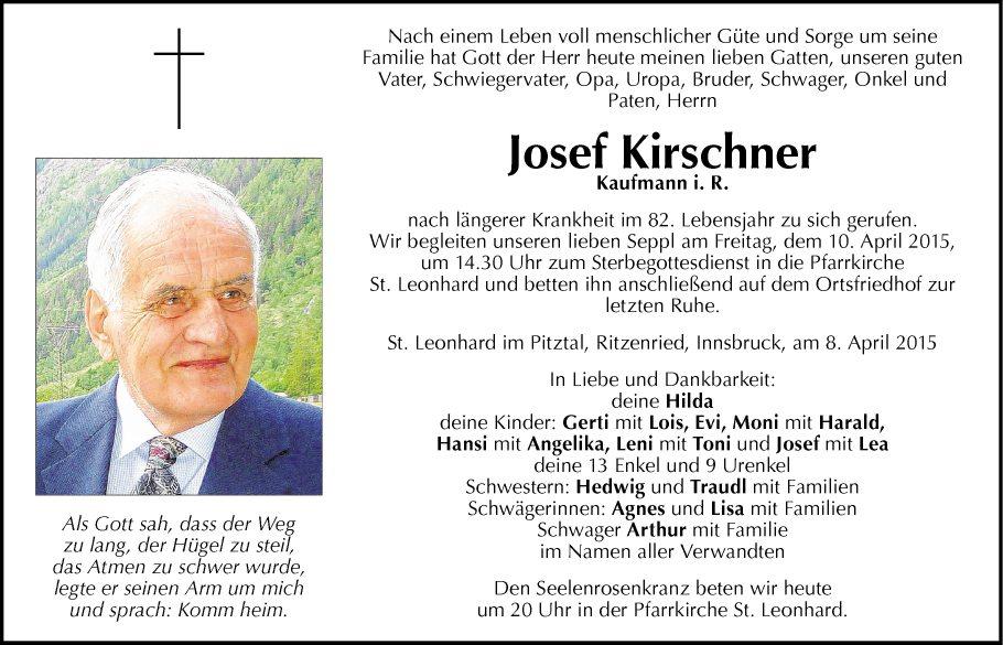 Traueranzeige Von Josef Kirschner Vom 09 04 2015