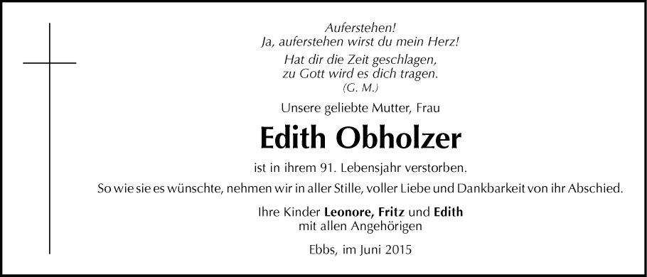 traueranzeige von edith obholzer vom 22.06.2015