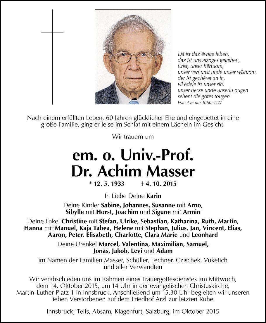 Univ. Prof. Dr. Achim Masser