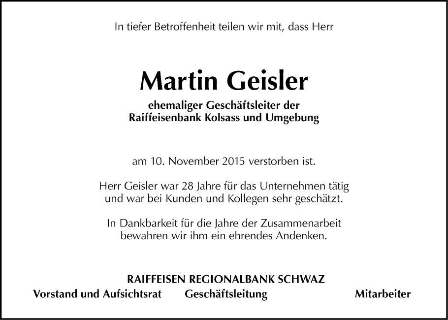traueranzeige von martin geisler vom 13.11.2015, Einladungen