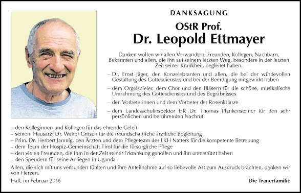 Prof. Dr. Leopold Ettmayer