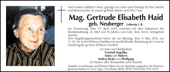 Mag. Gertrude Elisabeth Haid