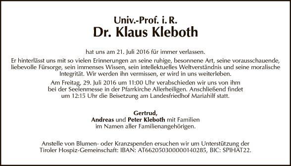 Dr. Klaus Kleboth