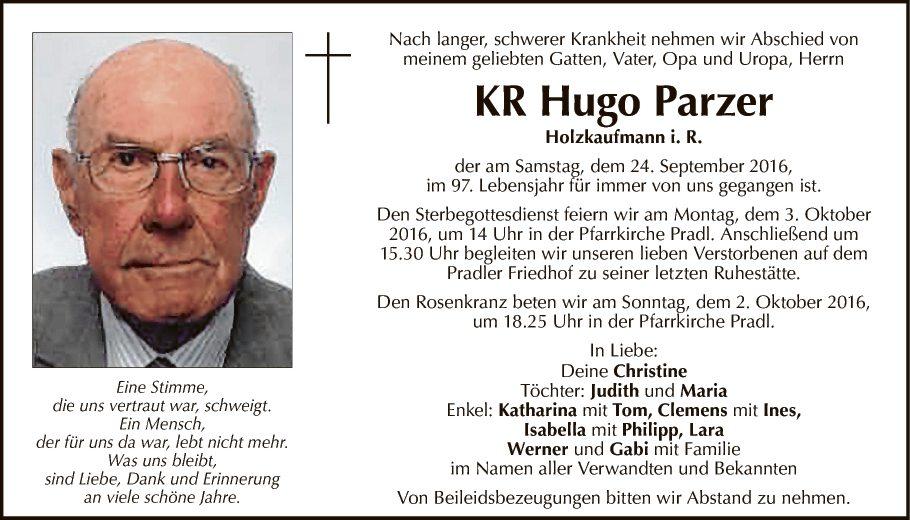 Traueranzeige von kr hugo parzer vom for Holzkaufmann