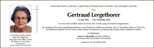 Gertraud Lergetborer