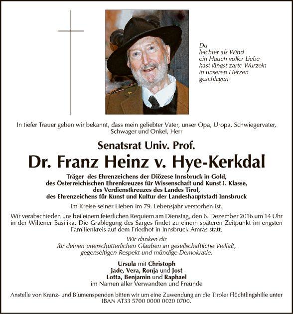 Dr. Franz Heinz v. Hye-Kerkdal