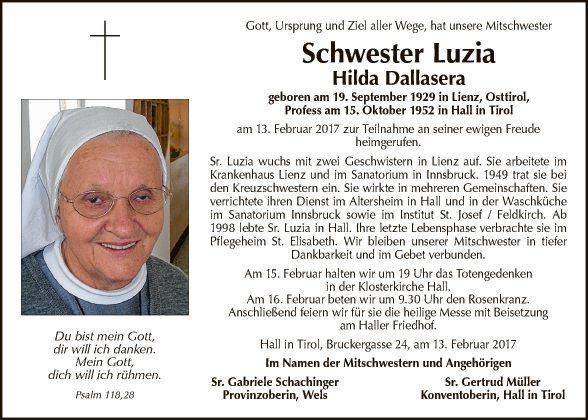Schwester Luzia Hilda Dallasera