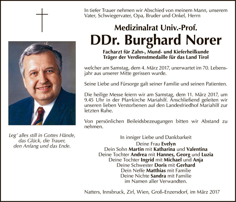 traueranzeige von dr. burghard norer vom 08.03.2017