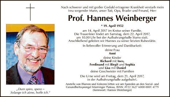 Prof. Hannes Weinberger