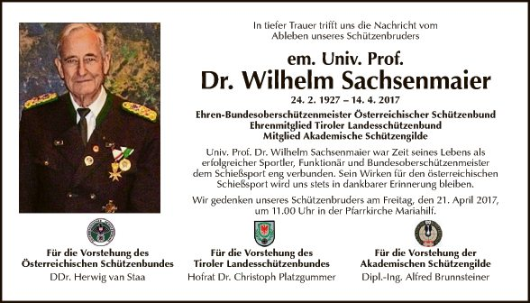Prof. Wilhelm Sachsenmaier