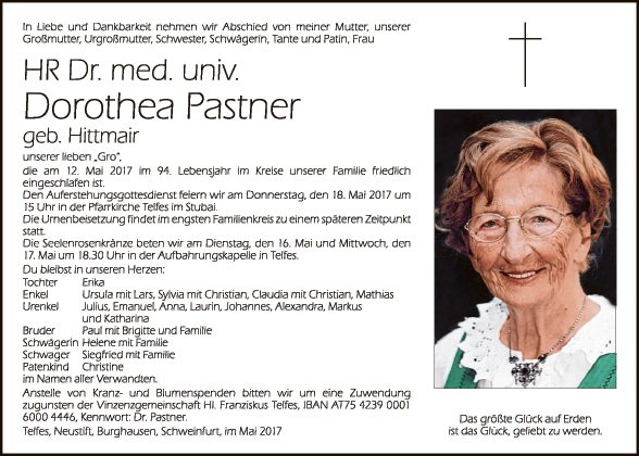 HR Dr.. med univ. Dorothea Pastner