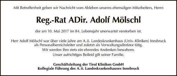 Reg. Rat. ADir. Adolf Mölschl