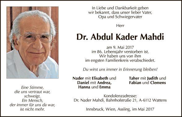 Dr. Abdul Kader Mahdi