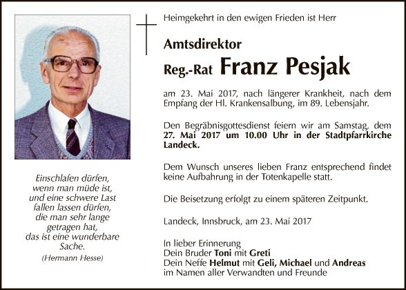 Reg. Rat. Franz Pesjak