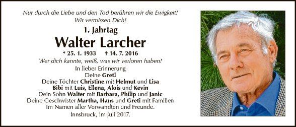Jahrtag Walter Larcher