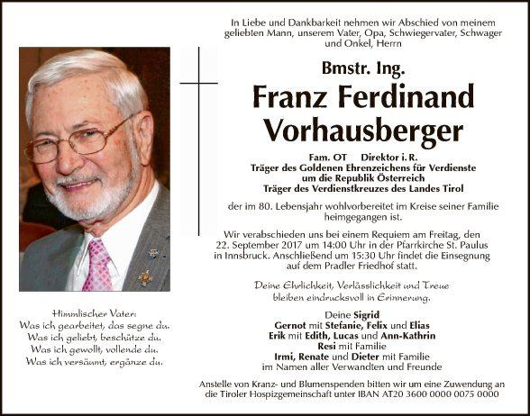 Franz Ferdinand Vorhausberger