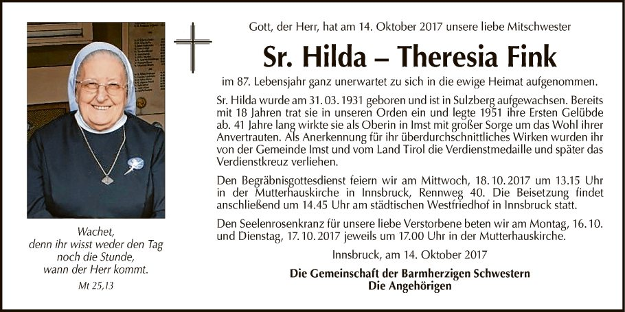 Sr. Hilda - Theresia Fink