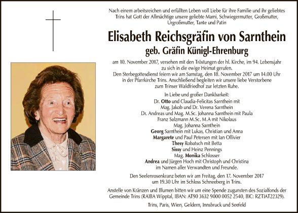 Elisabeth Reichsgräfin v. Sarnthein