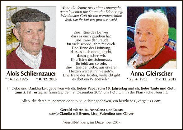 Alois Schliernzauer, Anna Gleirscher