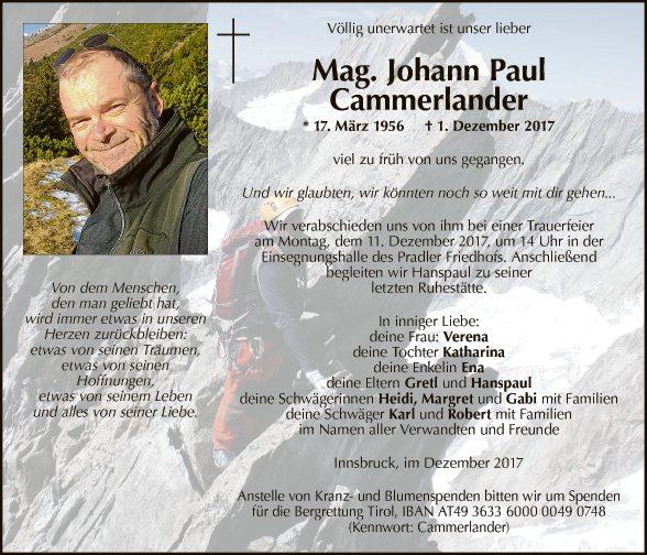 Mag. Johann Paul Cammerlander