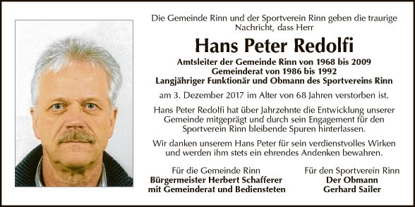 Hans Peter  Redolfi