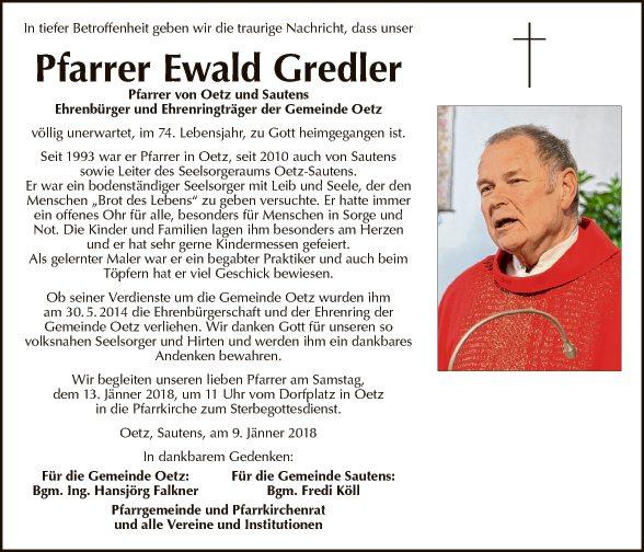 Pfarrer Ewald Gredler Gemeinde
