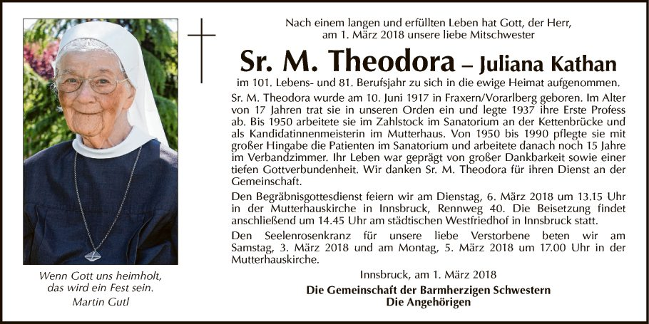 Sr. Maria Theodora Juliana Kathan