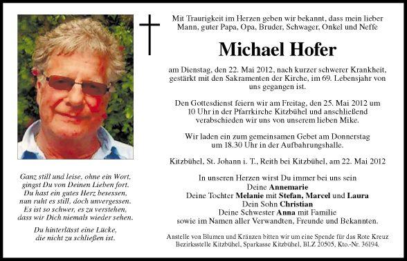 Traueranzeigen tiroler tageszeitung online for Michael hofer