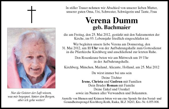 Ganz und zu Extrem Traueranzeige von Verena Dumm vom 29.05.2012 &LD_33