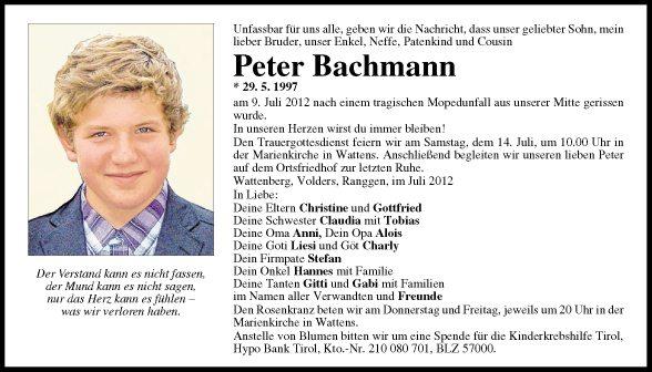 Traueranzeige Von Peter Bachmann Vom 12 07 2012