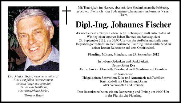 Traueranzeige Von Johannes Fischer Vom 27092012