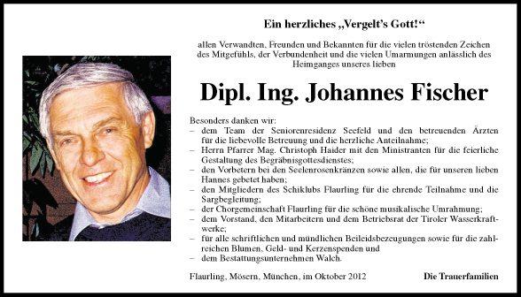 Traueranzeige Von Johannes Fischer Vom 06102012