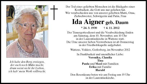 Traueranzeige Von Ida Aigner Vom 07 11 2012