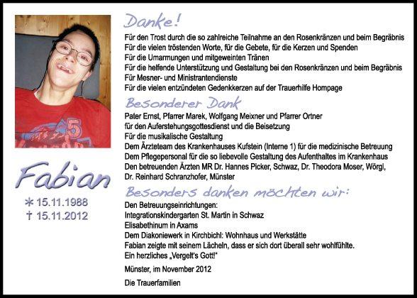 Traueranzeige von Fabian Unterberger vom 24.11.2012