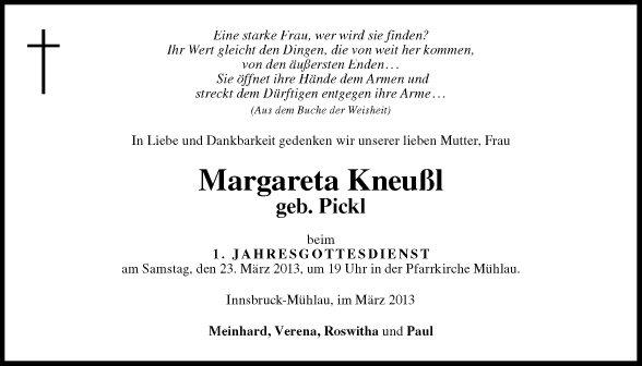 Traueranzeige Von Margareta Kneußl Vom 21 03 2013