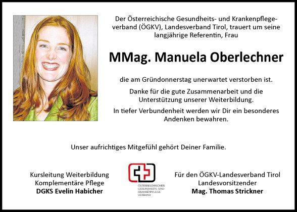 Traueranzeige von Manuela Oberlechner vom 05.04.2013