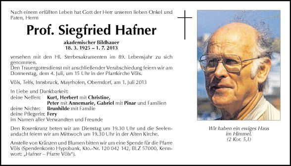 Prof. Siegfried Hafner
