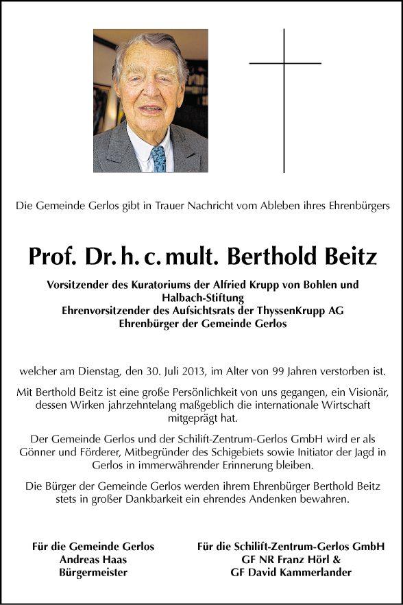 Berthold Beitz Prof. Dr.