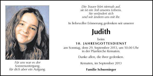 Traueranzeige Von Judith Schweninger Vom 26 09 2013