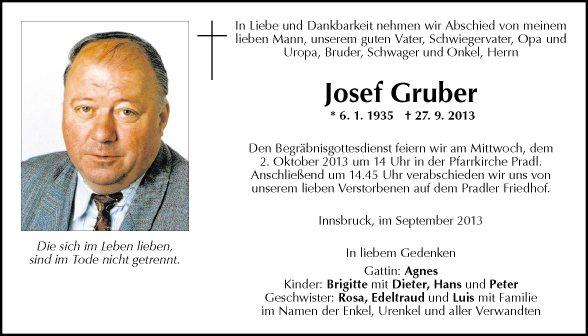 Traueranzeige Von Josef Gruber Vom 30092013