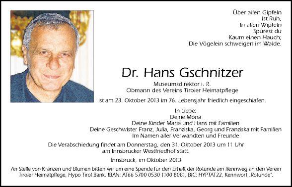 Dr. Hans Gschnitzer