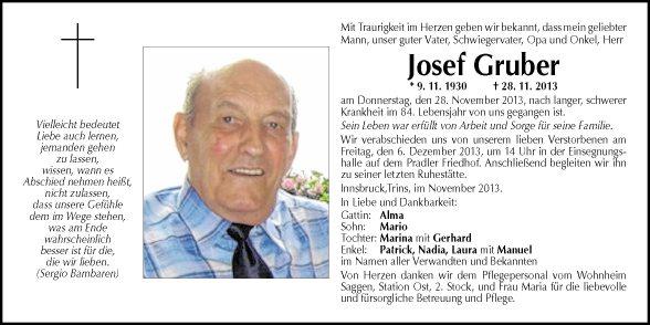 Traueranzeige Von Josef Gruber Vom 04122013