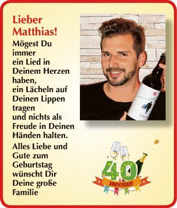 Lieber Matthias